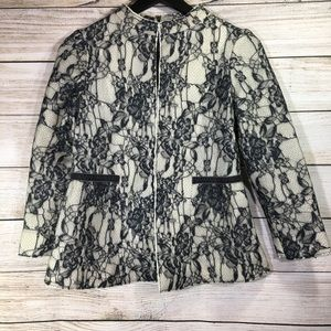 Zara Knit Women's Lace Blazer Cream Gray Jacket